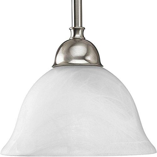 (Progress Lighting P5068-09 1-Light Stem Hung Mini-Pendant with Swirled Alabaster Glass, Brushed Nickel)