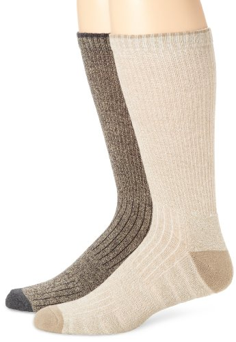 ECCO Men's 2 Pack Twisted Yarn Socks with Arch Support, Brown/Khaki, 10-13
