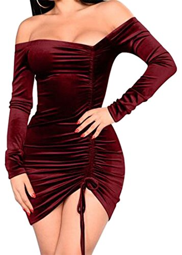 Wine Dress Club Long Bodycon Shoulder Red Sleeve Off Mini Cruiize Ruched Womens nvCHwxqz61