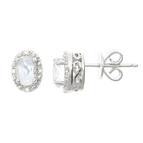925 Sterling Silver Oval Shape Moonstone & Diamond Halo Stud Earrings 6mm x 4mm (Earrings Diamond Moonstone)