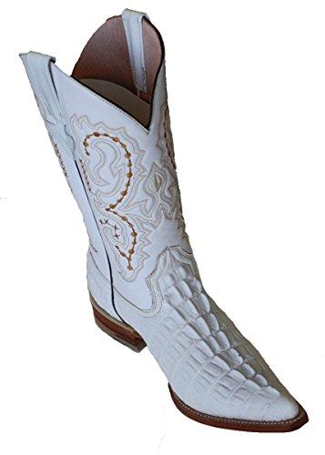 Stivali Da Cowboy In Pelle Di Coccodrillo Retro Taglio Stivali Da Cowboy Artigianali Di Lusso Bianchi