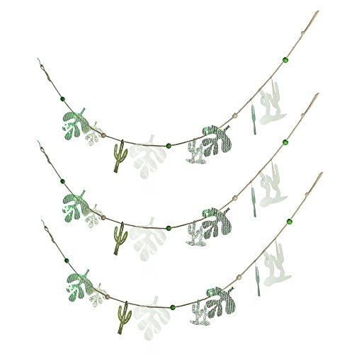 anner Handmade Home Accents Green Cactus Tropical Leaves Decor (Pack of 3) (Organza Garland)