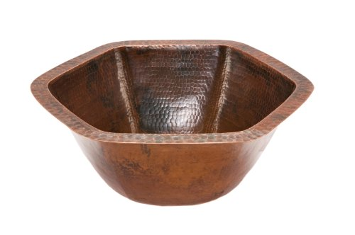 Premier Copper Products LH15.5DB Hexagon Under Counter Hammered Copper Sink, Oil Rubbed Bronze