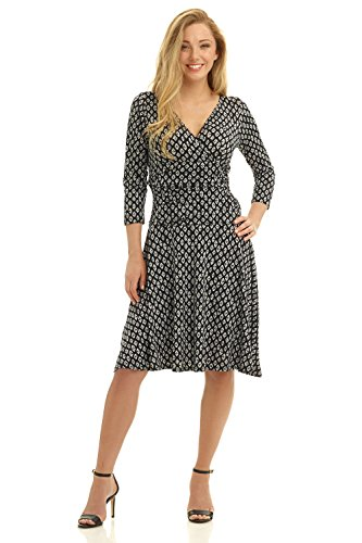 Rekucci Women's Slimming 3/4 Sleeve Fit-and-Flare Crossover Tummy Control Dress (14,Black White Diamond)