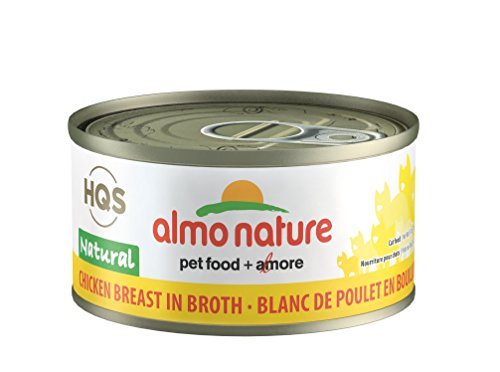 almo nature HQS Natural Chicken Breast in Broth Grain Free Wet Canned Cat Food (24 Pack of 2.47 oz/70g cans) (Best Seafood In Italy)