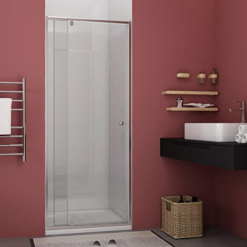 ELEGANT Semi-Frameless Hinged Glass Shower Door, 32-36