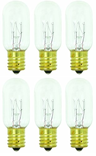 Clear Appliance Light Bulb (Pack of 6 25T8 25W Incandescent Salt Lamp & Appliance T8 Bulb with Candelabra Base, Clear Light Bulb)