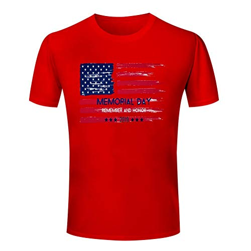 - GCASST Memorial Day Flag Printed Women's T Shirt, Cotton Short Sleeve Tees, Graphic Summer Tops Red
