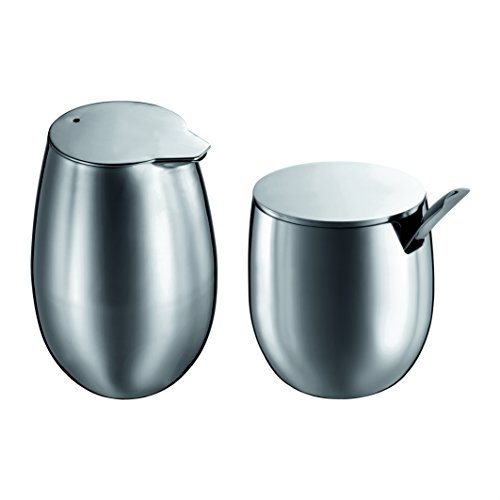 (Bodum Columbia Stainless-Steel Sugar and Creamer Set )