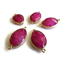 5 Pieces Pink Sillimanite Connectors,925 Sterling Silver Vermeil Gold Connectors,Bezel Gemstone Connector