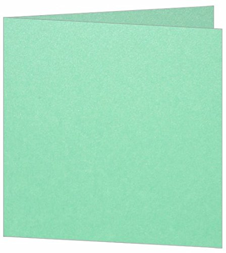 Blank Fold Invitation Card 6 1/4 x 6 1/4 Metallic Lagoon, 25 (Stardream Lagoon Square)