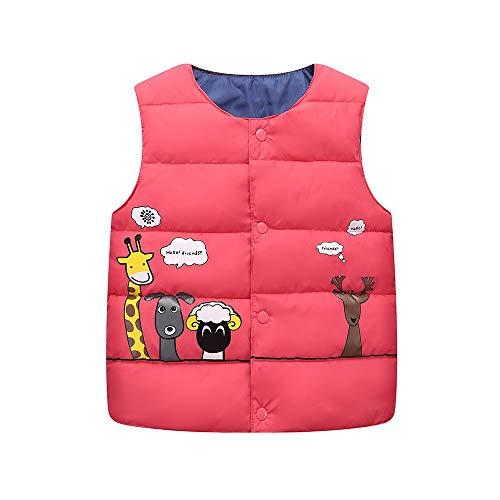 FEITONG Kids Baby Girls Boys Sleeveless Animal Print Zipper Warm Vest Jacket Waistcoat Outwear(2-3T,Red) ()