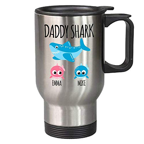Daddy Shark Mug - Custom Dad Mug - Personalized Gift For Dad - Father's Day Gift From Wife - Travel Mug With Kids Names