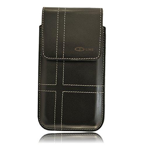 OrLine Holster Vertikal Tasche für Handys Apple Iphone 6 PLUS 5,5 Zoll Gürteltasche und Schlaufe Slim Design Case Echt Ledertasche Hülle Handytasche von OrLine in Schwarz mit Magnetverschluss Handgefe