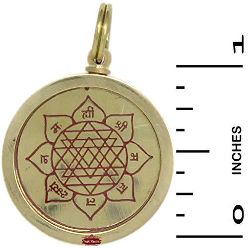 Yogic Mantra Sri Yantra Pendant (1 Inch Brass Locket) Energized Shree Yantra Mantra Kavach Jewelry Hindu Puja, Spiritual Pooja Wealth, Prosperity, Vastu Dosh Helps Correct Negativity Related Imbalance