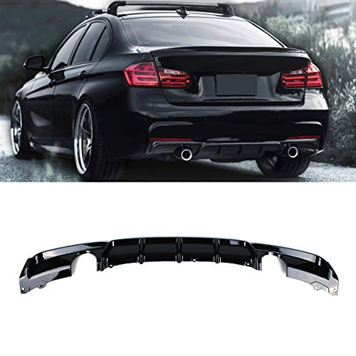 Fandixin F30 Diffuser, FRP M Style Rear Bumper Diffuser Lip Single Muffler Dual Out for BMW 3 Series F30 320i 325i 328i 335i M-Tech M Sport (Gloss Black) ()