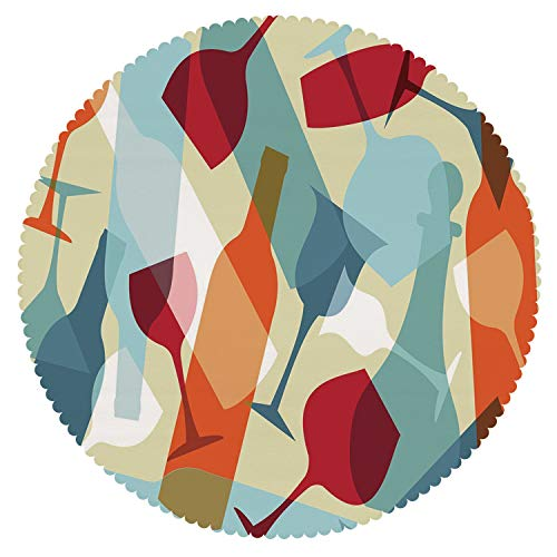 iPrint Unique Round Tablecloth [ Wine,Modern Design Colorful Silhouettes of Glasses Bottles Fun Party Artistic Decorative,Light Blue Ruby Orange ] Fabric Kids Home Tablecloth ()