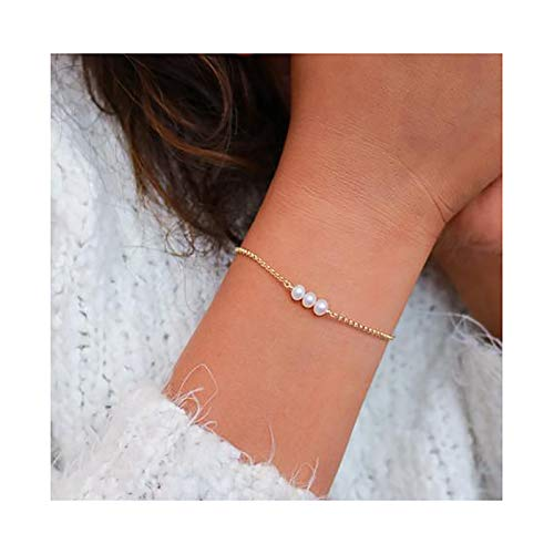 - Mevecco Freshwater Tiny Gold Pearl Bracelet,14K Gold Plated Cute Dainty Delicate Three Pearls Simple Minimalist Link Chain White Cultured Beaded Pearl Charm Bracelet for Girl