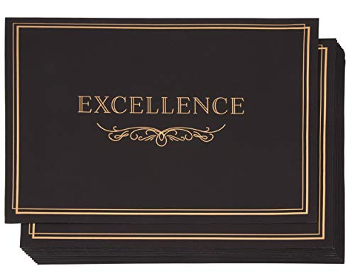 Certificate Holder - 12-Pack Diploma Cover, Document Cover for Letter-Sized Award Certificates, 300 GSM, Excellence Gold Foil Print, Black, 11.2 x 8.8 Inches