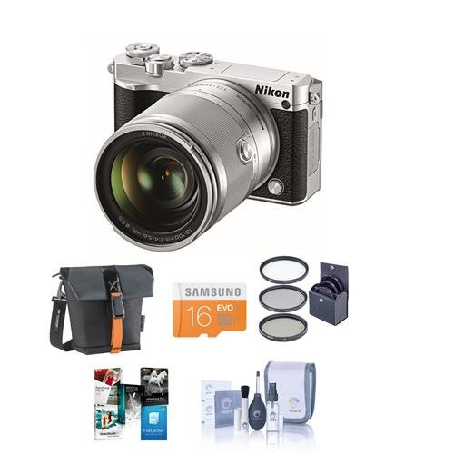 Nikon-1-J5-Mirrorless-Digital-Camera-with-1-NIKKOR-10-100mm-VR-Lens-Silver-Bundle-with-Camera-Case-16GB-Class-10-MicroSDHC-Card-55mm-Filter-Kit-Cleaning-Kit