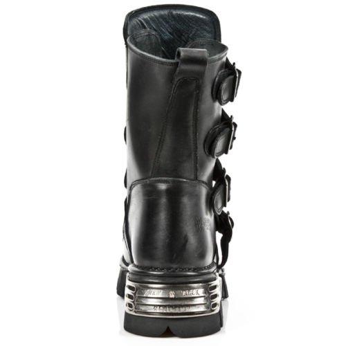 NEWROCK nouveau Rock 591-S3 SILVER FLAMME métallisé CHAUSSURES EN CUIR NOIR GOTH motards bottes
