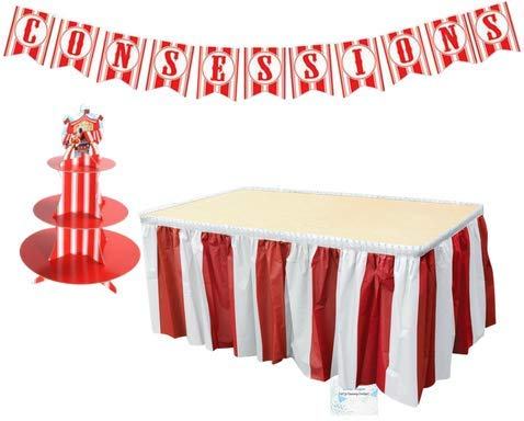 Carnival Party Supplies - Banner Tablecloth and Cupcake Stand - Perfect Carnival Party Decorations - Circus Party Supplies