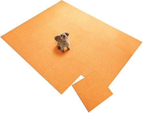 【日本製 撥水 消臭 洗える】サンコー ずれない ジョイントマット ペット用 45×45cm オレンジ 20枚 カーペットタイプ おくだけ吸着 タイルマット KN-73