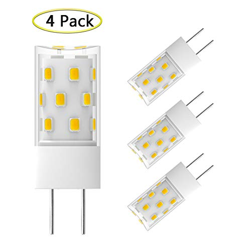GY6.35 LED Bulb Dimmable 5W Equivalent to 50W GY6.35 Halogen Bulb T4 JC Type GY6.35/G6.35 Bi-pin Base AC/DC 12V Daylight White 6000K G6.35 Light Bulb (4 Pack)