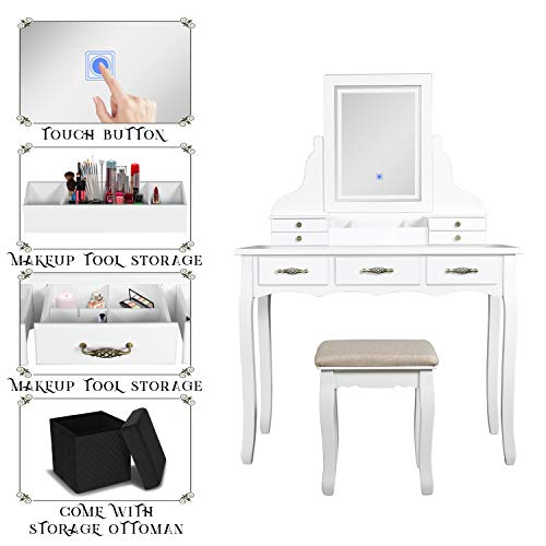 ENSTVER LED Vanity Table,7 Drawers Makeup Dressing Table with Cushioned Stool Set and Storage Ottoman-White