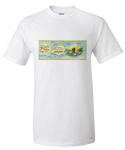 Pillars Framed Poster (Pillar Rock Salmon Can Label (White T-Shirt X-Large))