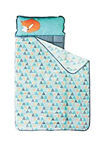 Homezy Nap Mat for Toddlers at Preschool Kinder Daycare – Portable Sleeping Bag Mats w Blanket + Pillow for Boys or Girls (Sleepy Fox)