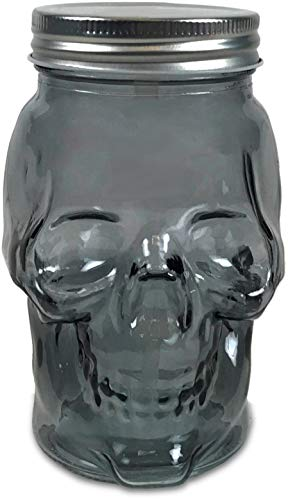Circleware 07452 Skull Face Glass Mason Jars with Silver Lid, Set of 6 Heavy Base Beverage Drinking Cups Glassware for Water, Beer, Juice Bar Novelty Halloween Decorations Gift, 16 oz, Smoke