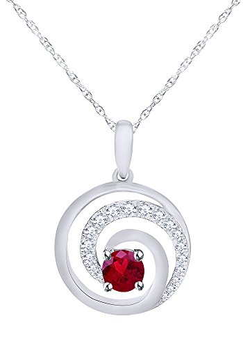 Wishrocks Simulated Birthstone Swirl Circle Pendant Necklace in 14K White Gold Over Sterling Silver