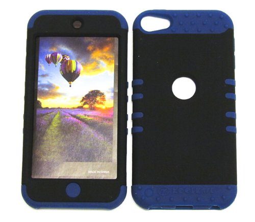 SHOCK RESISTANT HYBRID CASE, STYLUS PEN. KOOL KASE ROCKER FOR Apple IPod ITouch 5 HARD COVER AND DARK BLUE RUBBER SKIN BLACK DB-A008-G iPod iTouch 5