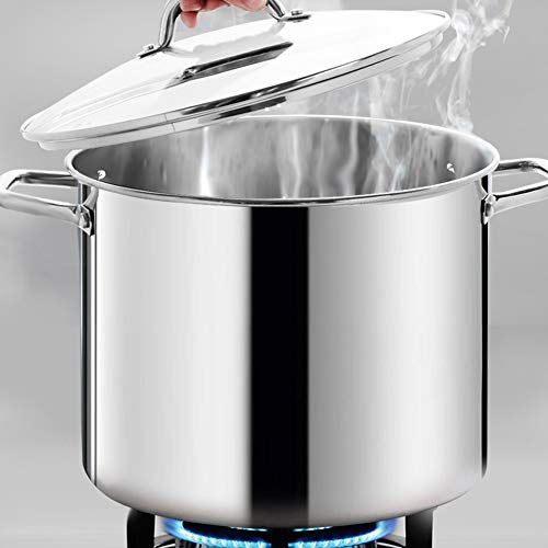 HOMI CHEF Large Heavy Stock Pot With Lid - Nickel Free Stainless Steel Cookware Stockpot - Healthy Cookware Polished Stockpots - Heavy Duty Induction Pot Soup Pot With Lid