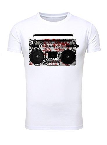 Legendary Items T-Shirt Herren Printshirt Bedruckt Aufdruck Männer Motiv Rundhals Ghettoblaster Radio Graffiti weiß M
