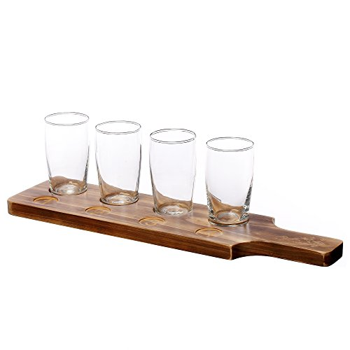 V-More Pilaster Glasses Beer Tasting Flight Tray 7.2 oz Sampler Bachelor Gift Set (Sampler Flight)