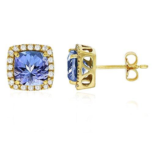 Sterling Silver Yellow 6mm Cushion Tanzanite & Cr White Sapphire Halo Stud Earring (Pave Tanzanite Earrings)