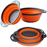 Collapsible Colander (Set of 2) - Collapsible Style Sink Strainer, Mesh Strainer BPA Free, FDA Approved Colander Silicone Basket Set, Convenient for Pasta, Fruits and Vegetables.