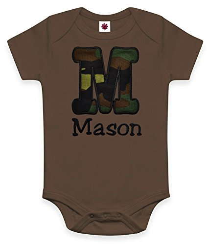 Funny Girl Designs Personalized Embroidered Army Camouflage Onesie Bodysuit For Baby   Your Custom Name   0 3 Months