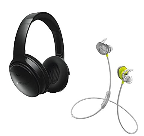 Bose QuietComfort 35 (Series I) Noise Cancelling Over-ear (Black) & SoundSport In-ear (Citron) Wireless Bluetooth Headphone (In Ear Noise Cancelling Bose)