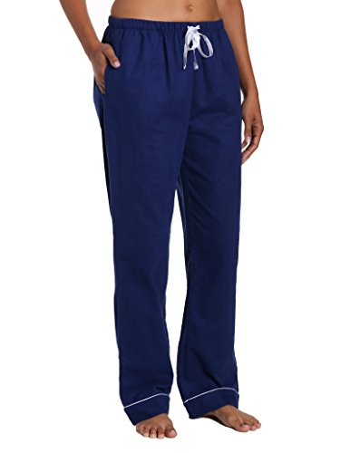 Womens Drawstring Flannel Pants - Noble Mount Women's Cotton Flannel Lounge Pants - Midnight Blue - Large
