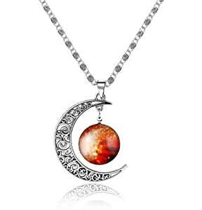 Fine Silver Jewelry Moon Glass Galaxy Lovely Necklace - Gift Jewelry