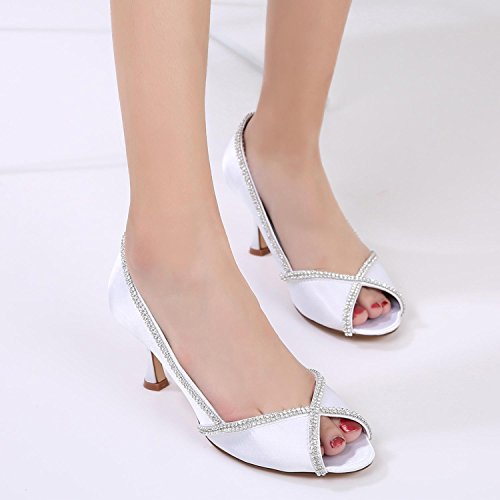 Low E17061 Peep Stitching YC Wedding L Women's White Shoes Diamond Sandals Heel 14 Lace Toe Satin Heel xH0I6qw6