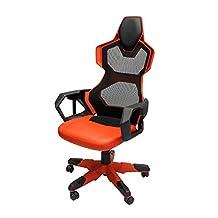 EBLUE Cobra-R Gaming Chair - PU Leather - PC Racing Chairs - Silent Wheels - Red Mesh- EEC307REAA-IA