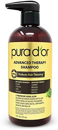 PURA D'OR Advanced Therapy Shampoo Reduces Hair Thinning & Increases Volume, Sulfate Free, Biotin shampoo Infused With Argan Oil, Aloe Vera for All Hair Types, Men & Women, 16 Fl Oz