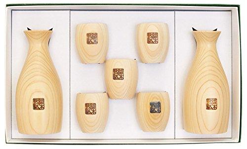 WA ZAKKA Japanese Hinoki Sake Set Round Design