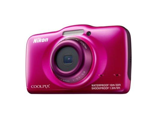 Nikon Coolpix S32 Digitalkamera (13 Megapixel, 3-fach optischer Weitwinkel-Zoom, 6,7 cm (2,7 Zoll) LCD-Monitor, Full-HD-Videofunktion, Kreativ-Effekte, wasserdicht, stoßfest) pink