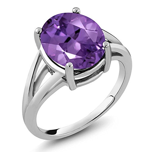 (Gem Stone King 4.60 Ct Amethyst Gemstone Birthstone 925 Sterling Silver Women's Ring (Oval 12x10mm (Size 7))