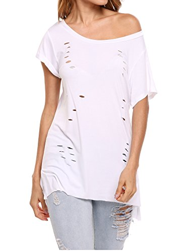 Zeagoo Womens Comfy Basic Cotton Short Sleeves Hole Casual T-Shirt Tee